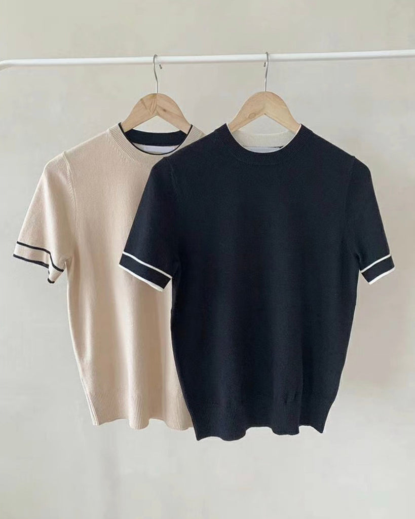 Connor Contrast Lined Short Sleeve Knit Top (Black)