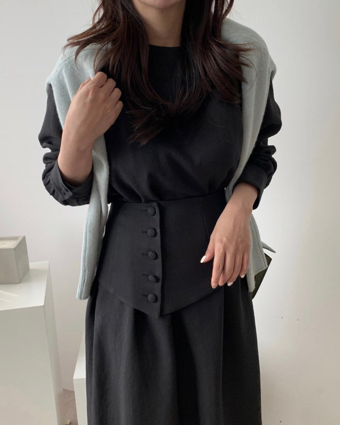 Suzy Waist Belted Long Sleeve Ops (Black)