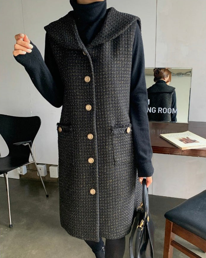 Amelia Gold Button Tweed Vest Midi Ops (Black)