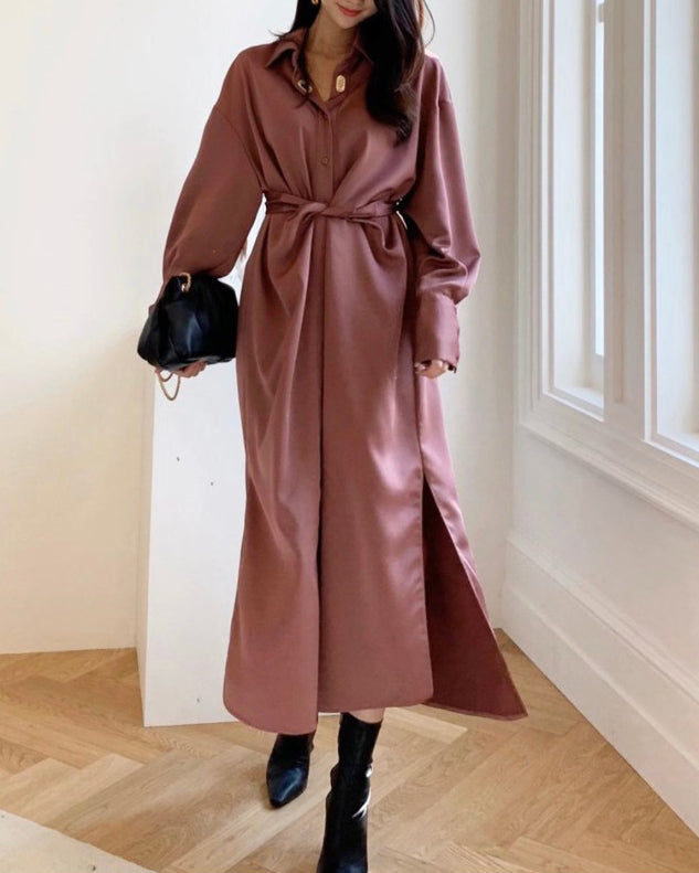 Keli Front Twist Long Shirt Ops (Wine)