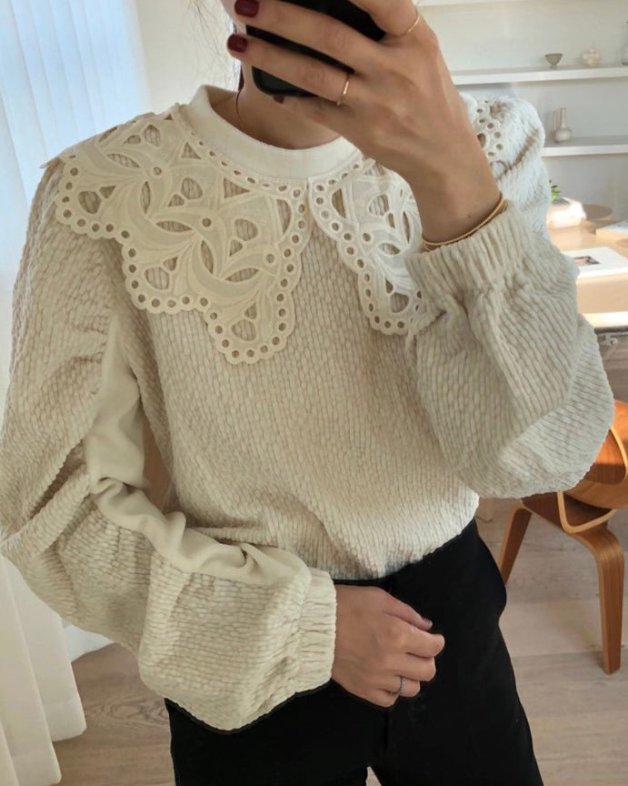 Pamela Eyelet Collar Textured Pullover (Cream)