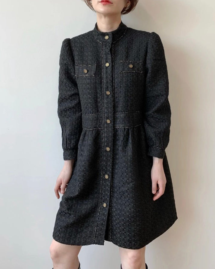 Susie Gold Button Short Tweed Ops (Black)