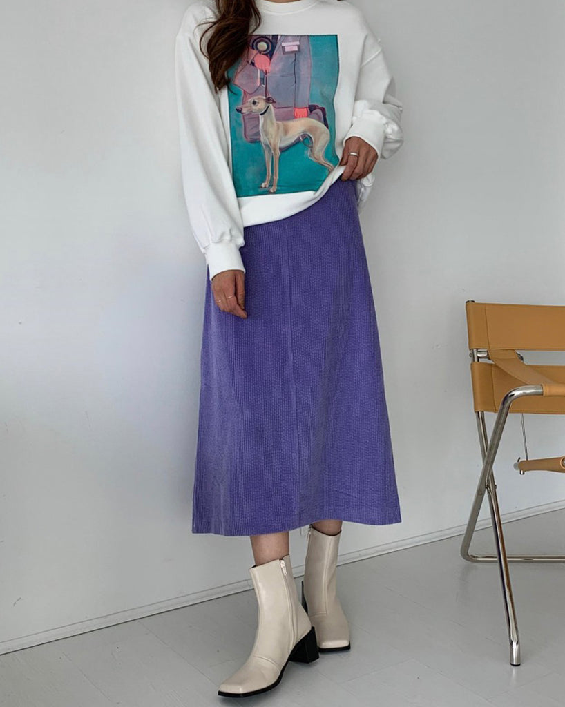 Selena Corduroy Flare Skirt (Purple)