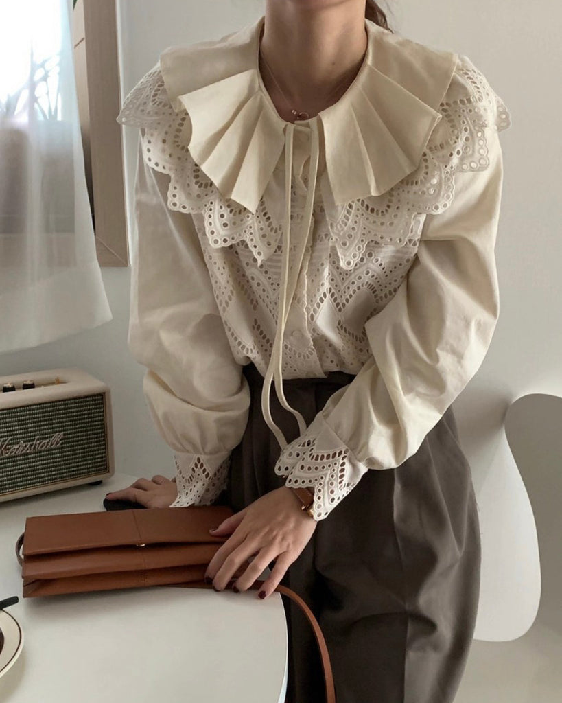 Willow Layered Collar Eyelet Blouse (Beige)