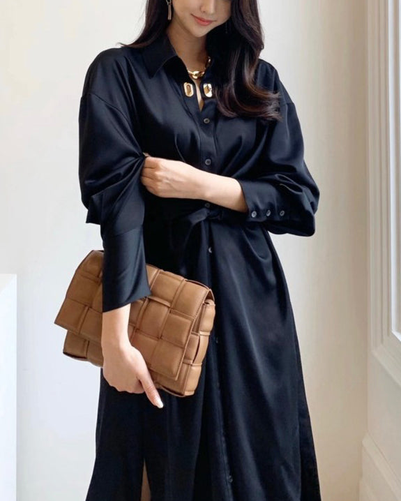Keli Front Twist Long Shirt Ops (Black)