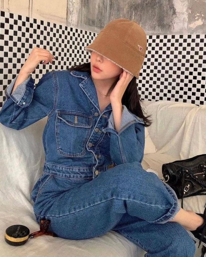 Denim Button Baggy Jumpsuit