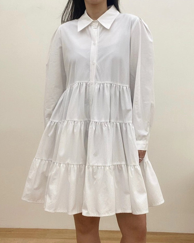 Kellie Button Down Flare Tiered Ops (Ivory)