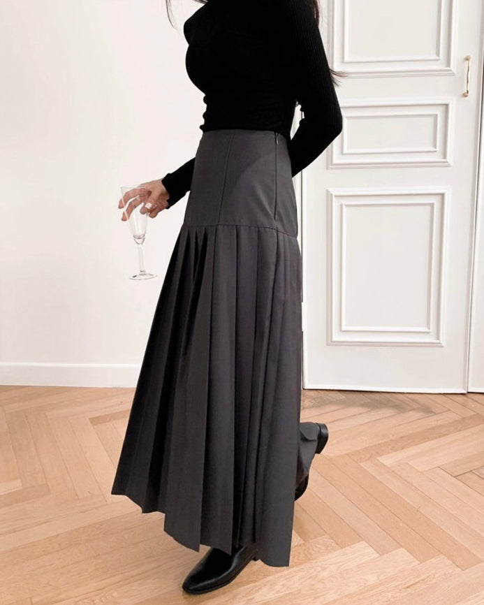 Kasie Pleat Flare Long Skirt (Grey)