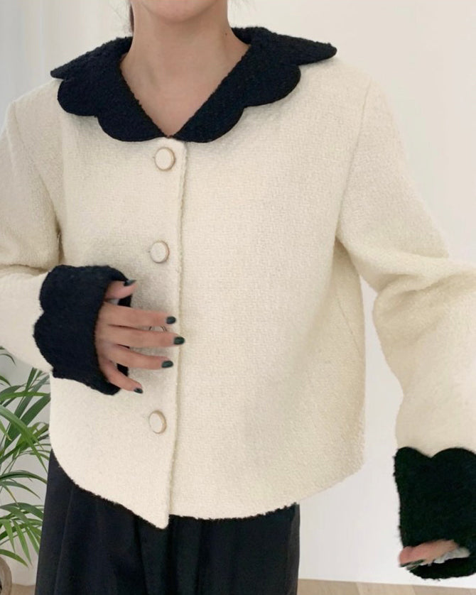 Lisa Scallop Trim Contrast Tweed Jacket (Cream)