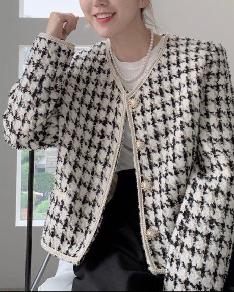 Haylie Houndstooth Tweed Jacket (Black)