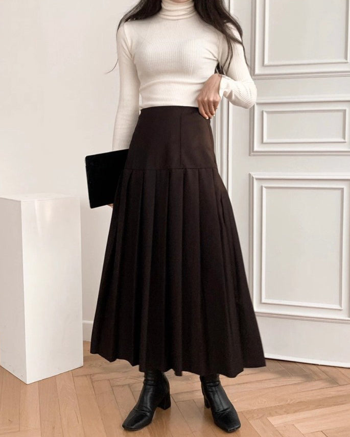 Kasie Pleat Flare Long Skirt (Brown)