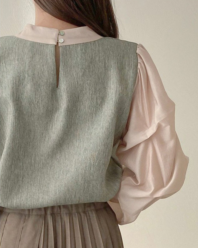 Wendy 2-Tone Ruched Sleeve Blouse