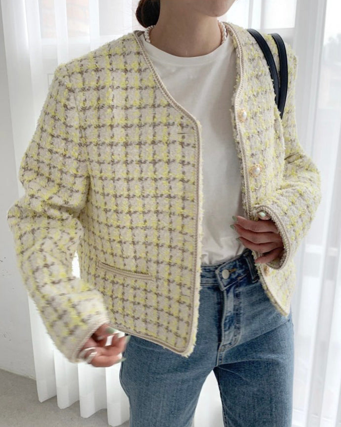 Haylie Houndstooth Tweed Jacket (Yellow)