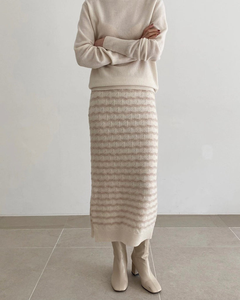 Stacie Wavy Detail Knit Skirt