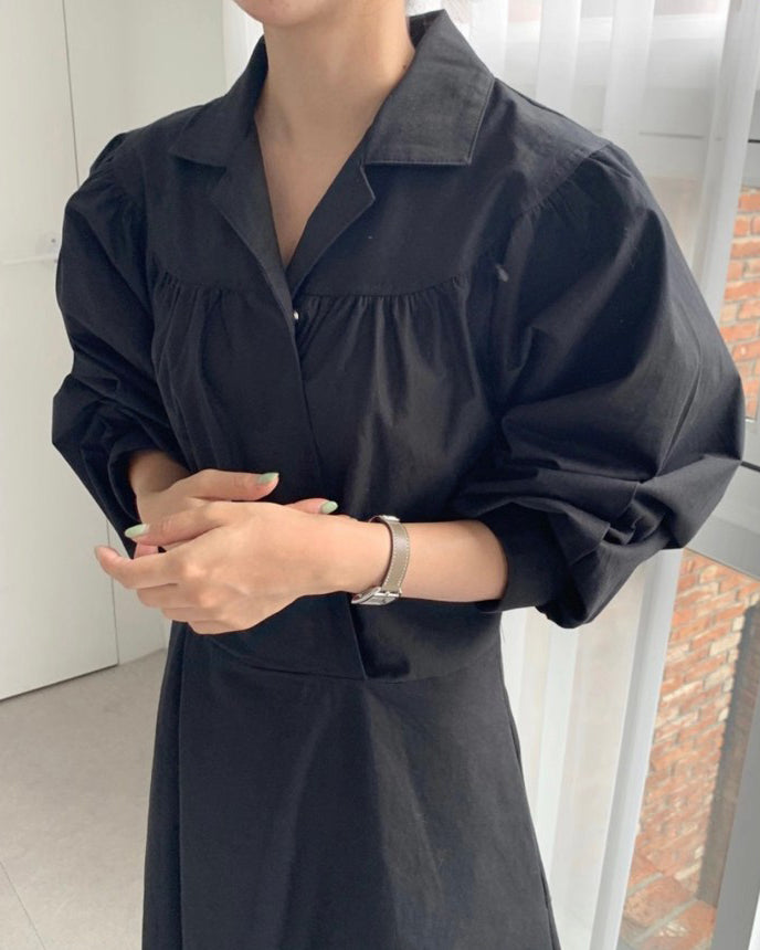 Lilia Puff Sleeve Trench Long Ops (Black)