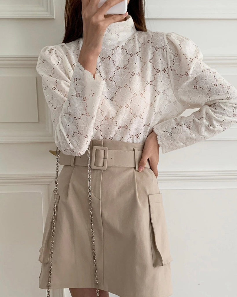Miller Flower Eyelet High Neck Blouse