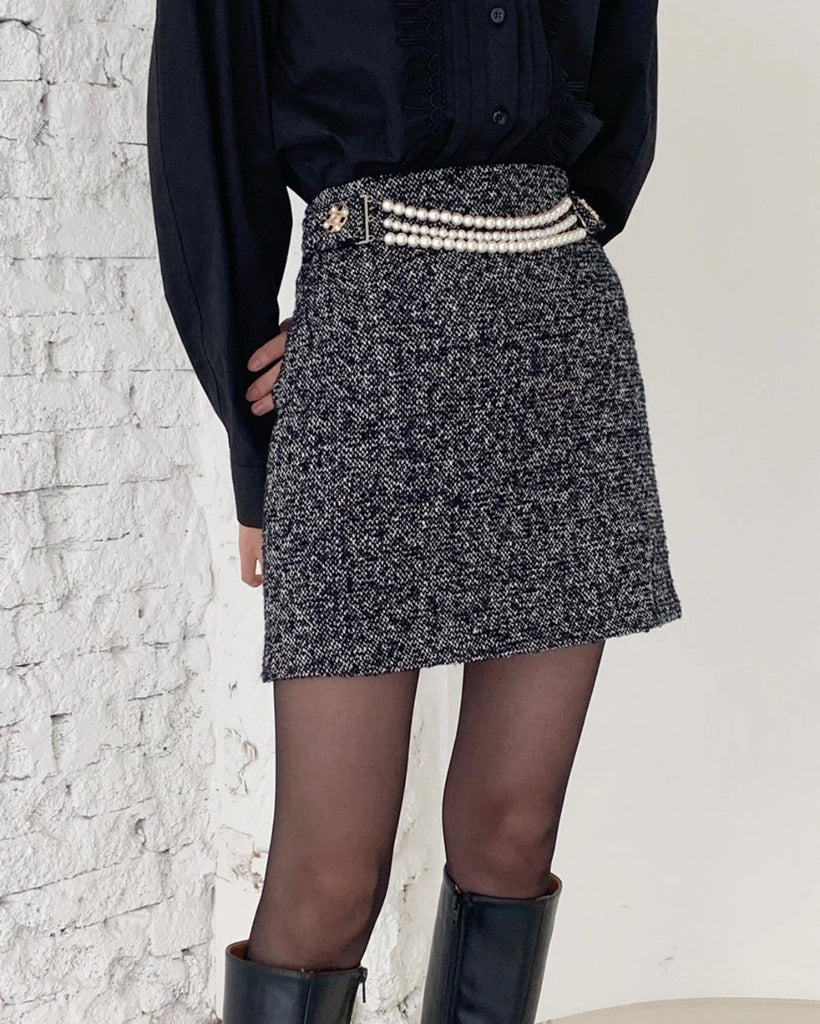 Mel Pearl Belt Tweed Short Skirt (Grey)