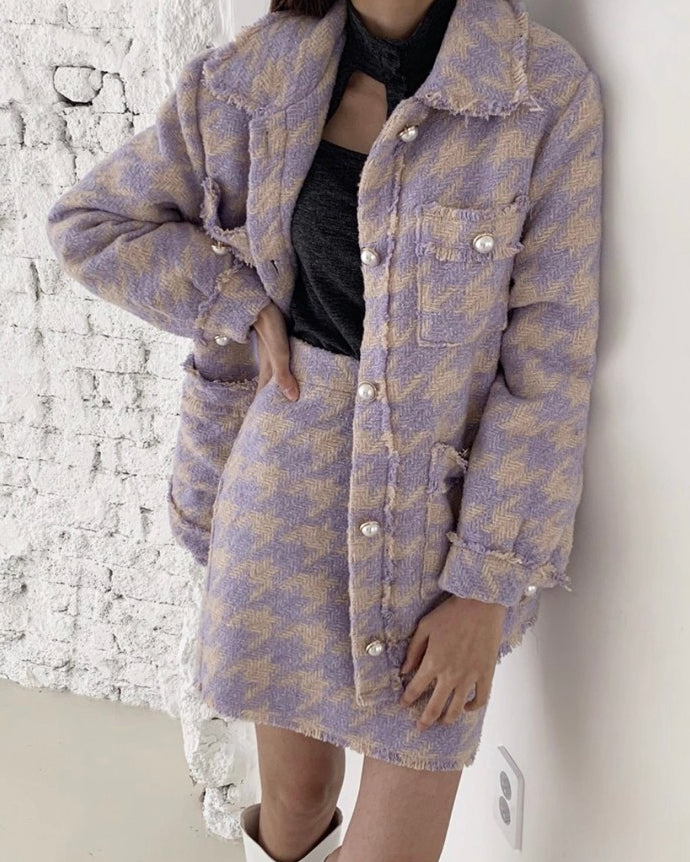 Danny Houndstooth Wool Oversized Jacket (Purple)