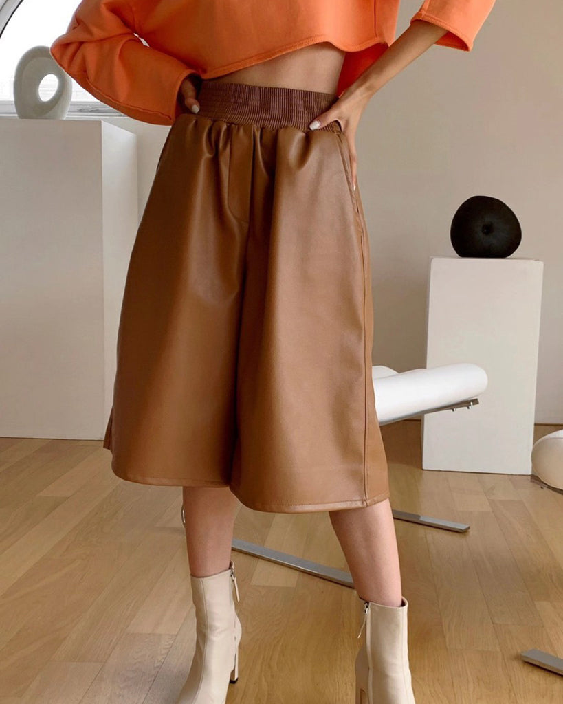 Trisha Banded Faux Leather Culottes