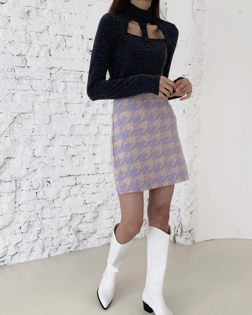 Danny Houndstooth Wool Short Skirt (Purple)