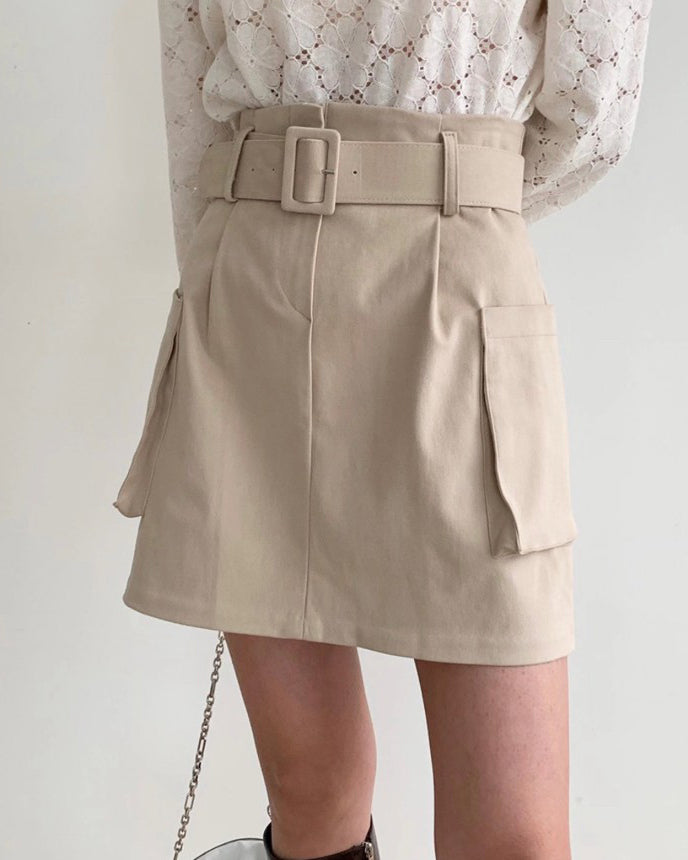 Tessa Belted Pocket Short Skirt