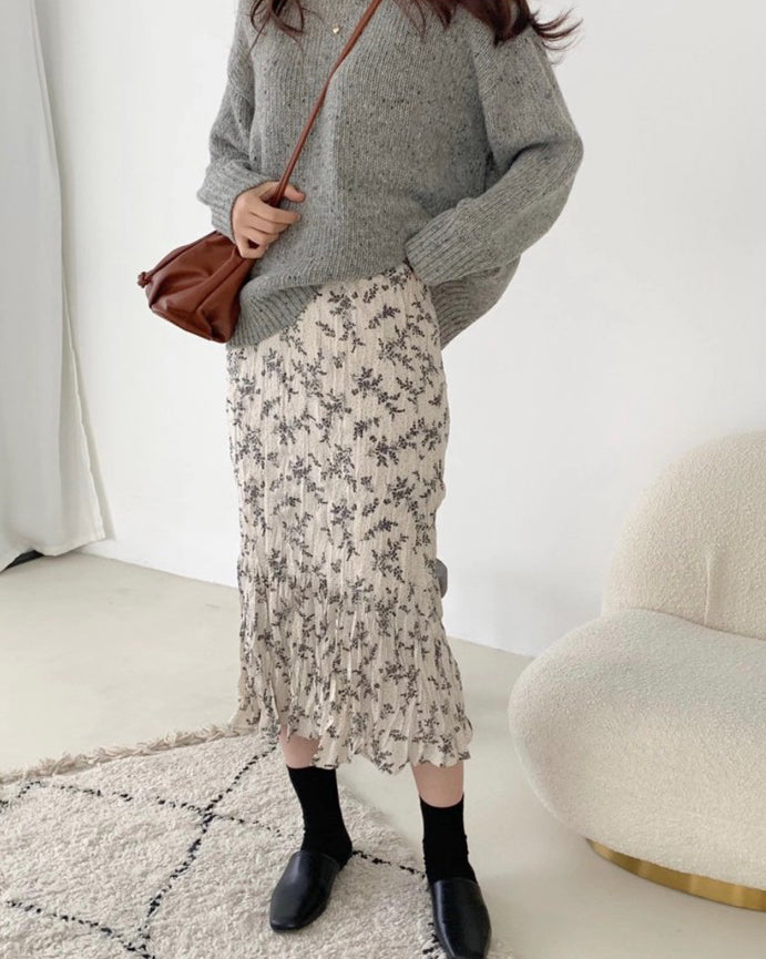Creased Floral Banded Skirt (Cream)