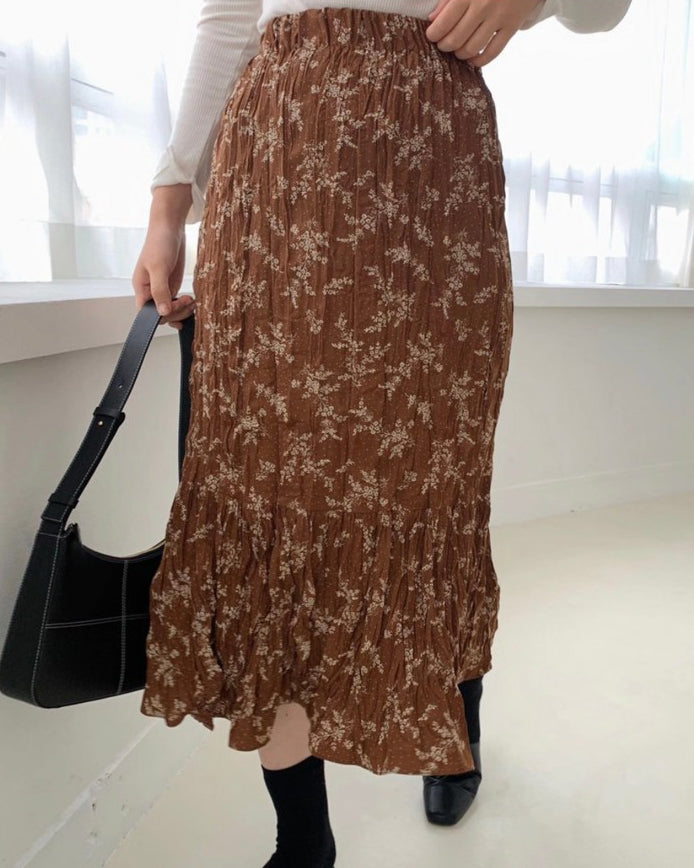 Creased Floral Banded Skirt (Brown)