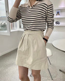 Belted Pleat Short Skirt