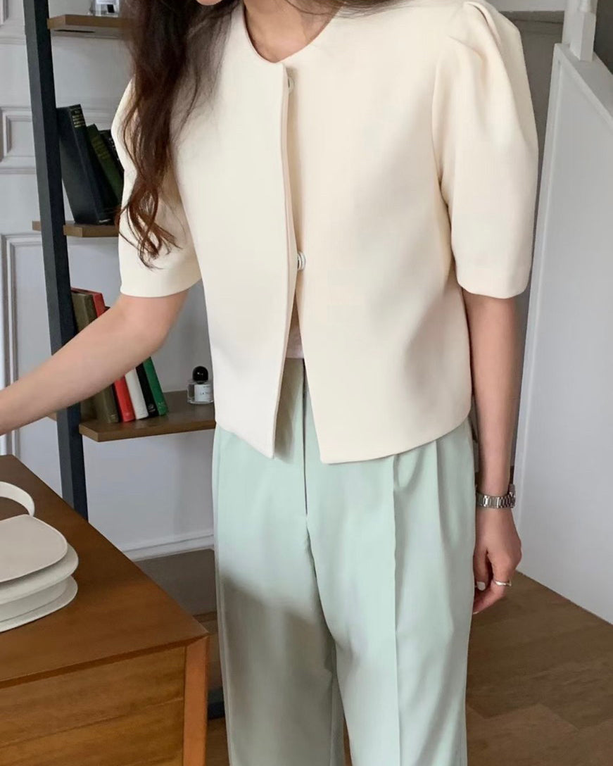 Puff Sleeve Sleek Short Jacket
