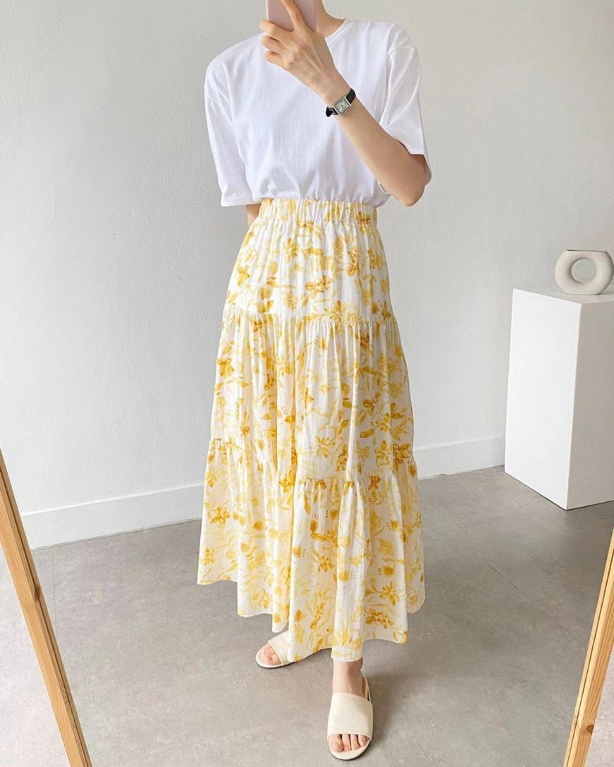 Printed Floral Tiered Long Skirt