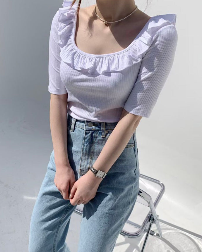 Ruffle Scoop Neck Ribbed Top