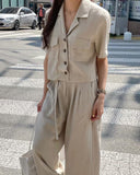 Linen Highwaist Flare Slacks