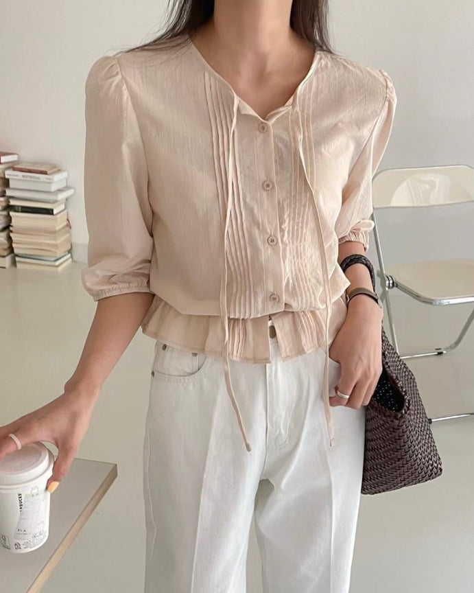 Pleat Fold Detail Banded Blouse