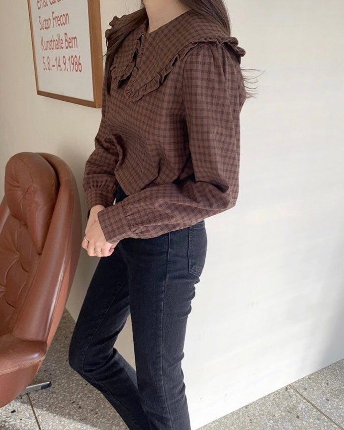 Checked Babydoll Collar Blouse (Brown)