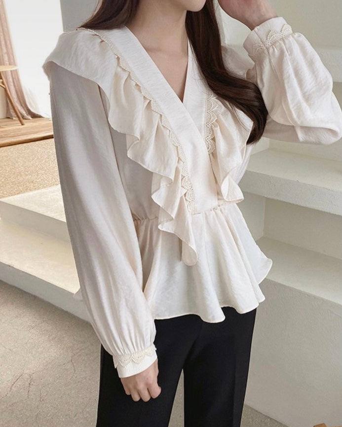 Ruffled Soft V-Neck Blouse