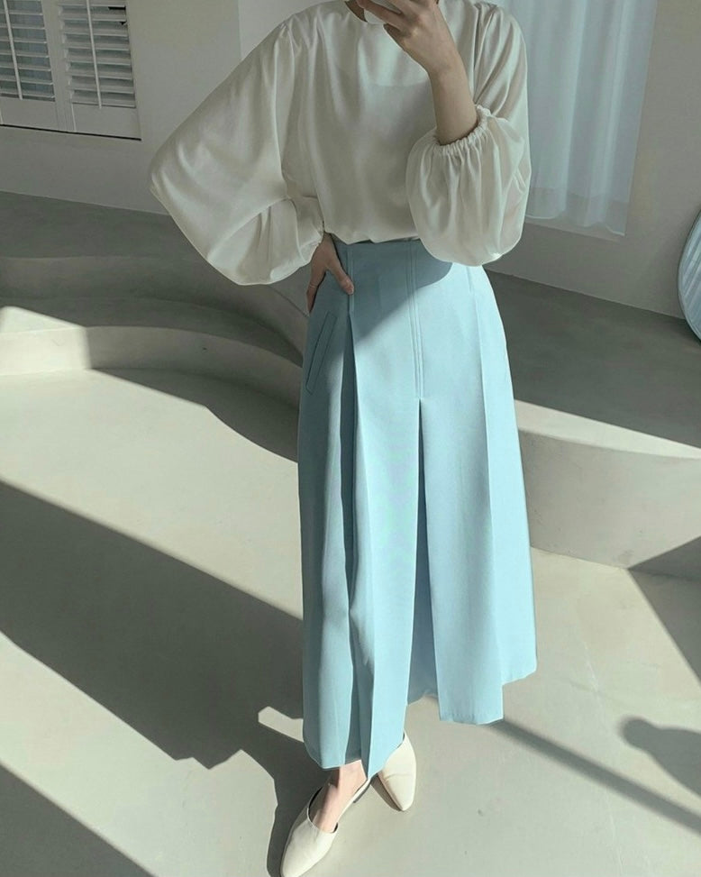 Slant Pocket Pleated Skirt (Blue)