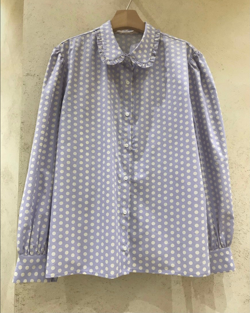 Retro Dotted Frill Round Collar Shirt