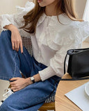 Layered Frill Cape Detail Blouse