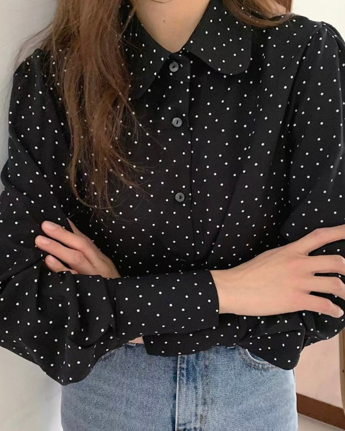 Dotted Round Collar Blouse (Black)