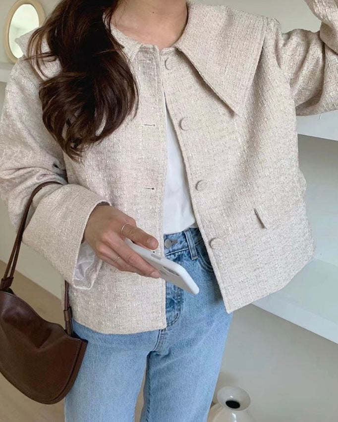 Pointed Oversized Collar Tweed Jacket (Beige)