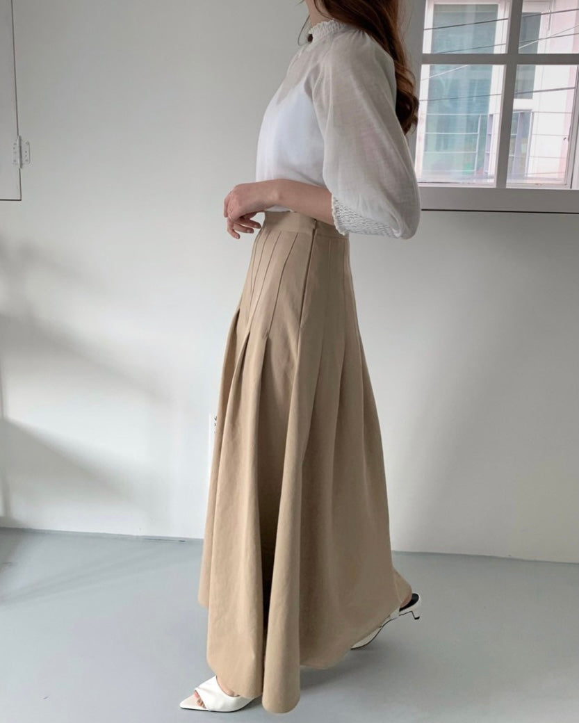 Pintucked Pleated Flare Skirt