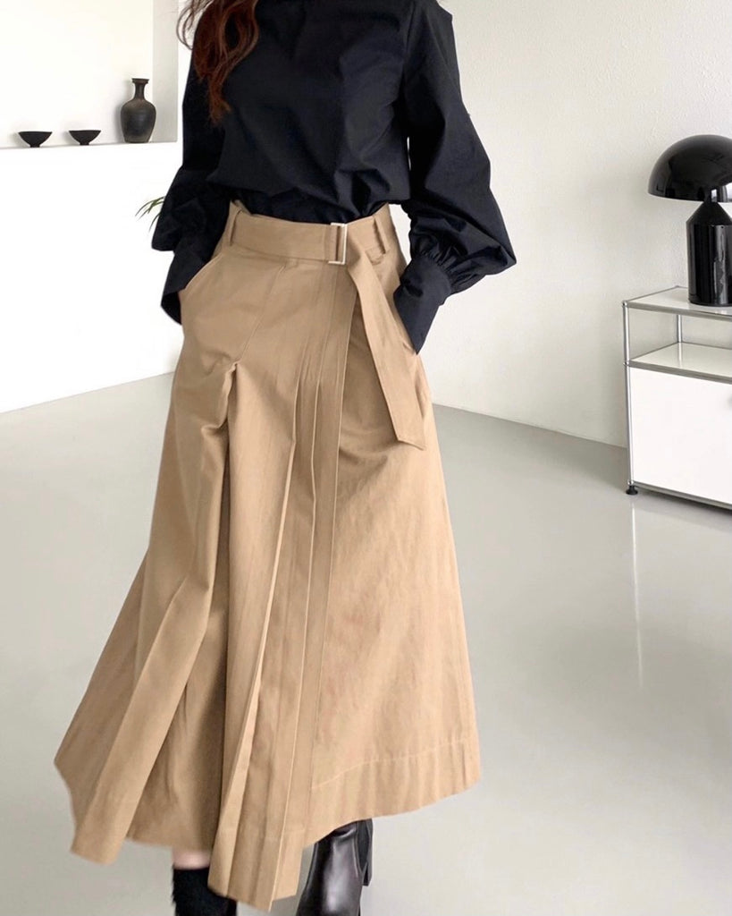 Side Pleated Wrap Belted Skirt (Beige)