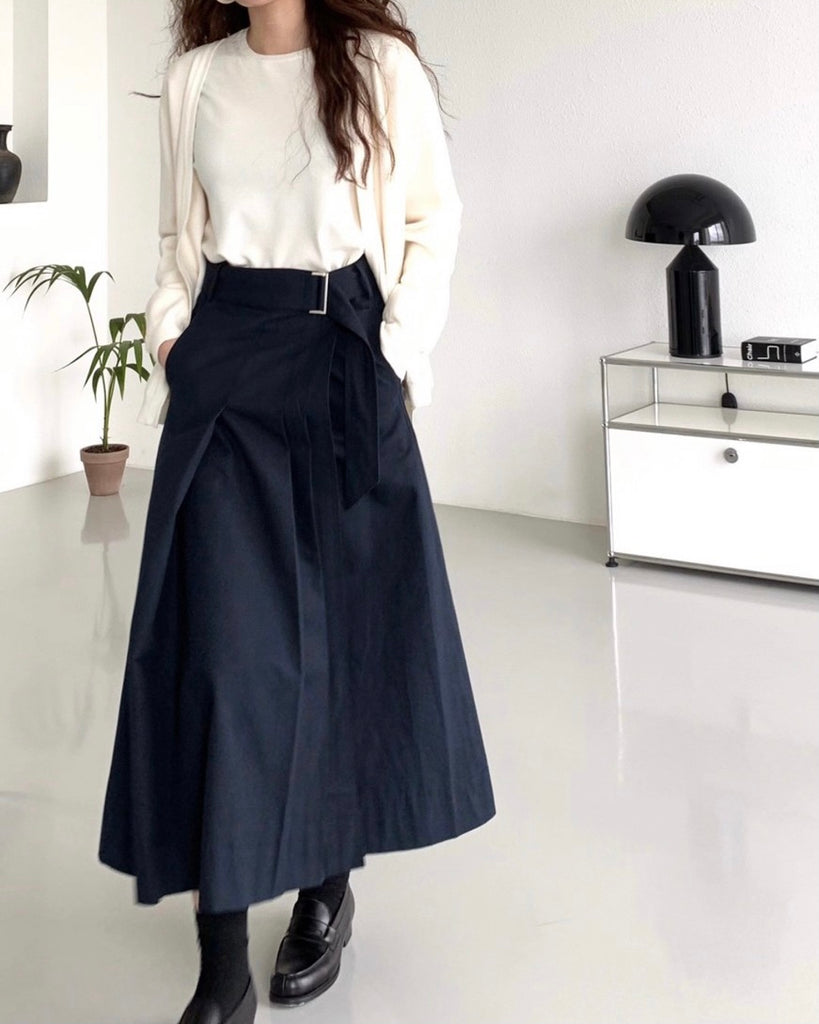 Side Pleated Wrap Belted Skirt (Navy)