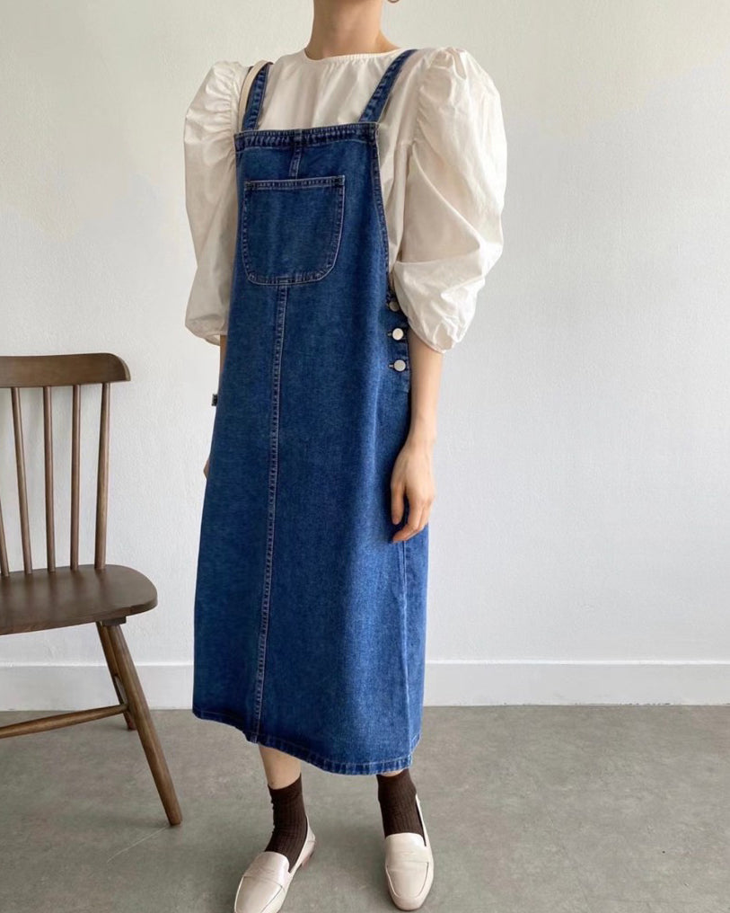 Side Buttons Denim Dungaree Ops