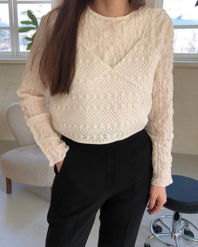 Shirring Blouse with Crochet Cami (Cream)