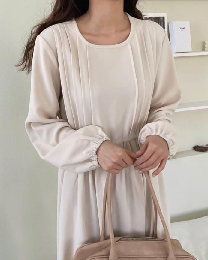 Side Pin-tucked Pleats Banded Long Ops (Cream)