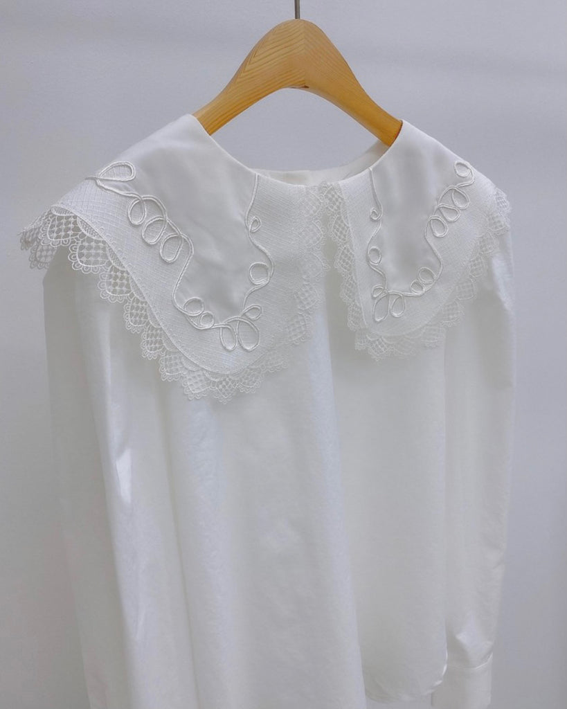Crochet Collared Back Button Blouse (Ivory)