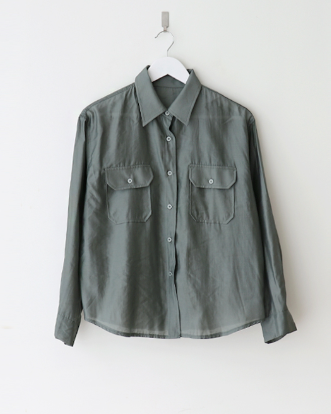 Bell 2 Pocket Button Sheer Shirt