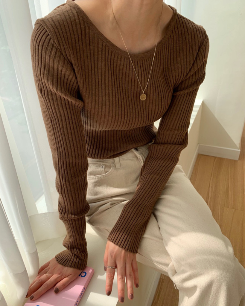 Dahlia Slim Ribbed Knit Top (Brown)