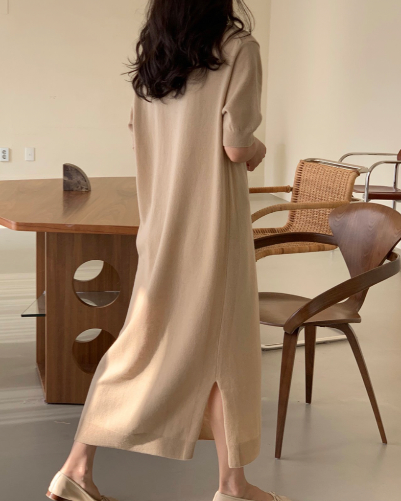Lucile High Neck Cashmere Long Ops (Beige)